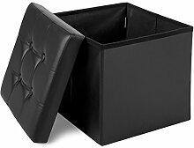 Merax® FaltbarerSitzhocker Sitzwürfel Fußbank faltbar kunstleder, 38x38x38cm Schwarz