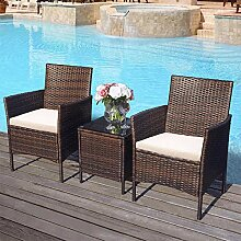 Merax Garten Möbel Poly Rattan Outdoor-Möbel