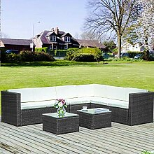 Merax. Gartenmöbel Set 6-Sitzer Eckofa Terrasse