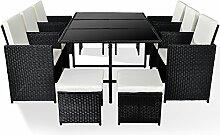 Merax Poly Ratten Gartenmöbel Set Sitzgruppe klappbare Essgruppe mit 10 Sitzplätzen (6+4+1) (Schwarz)