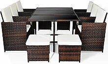 Merax Poly Ratten Gartenmöbel Set Sitzgruppe klappbare Essgruppe mit 10 Sitzplätzen (6+4+1) (Braun)