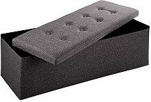 Merax® Sitzhocker Sitzbank mit Stauraum faltbar 3-Sitzer belastbar bis 200 kg kunstleder dunkelgrau 110 x 38 x 38 cm