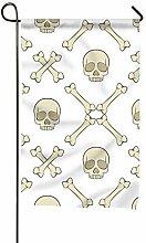 MERCHA Garten-Flagge, Totenkopf und Knochen, für