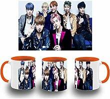 MERCHANDMANIA Tasse Orange BTS Boy with Luv Color