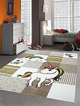 Merinos Kinderteppich Spielteppich Babyteppich mit Einhorn Regenbogen in Beige Creme Größe 80x150 cm