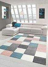 Merinos Wohnzimmer Teppich Design mit Karo Muster