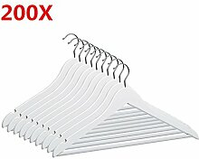 MERITON Holz Kleiderbügel Garderobenbügel Holzbügel mit Rutschfestem Hosenstange Weiß (200 Stück)
