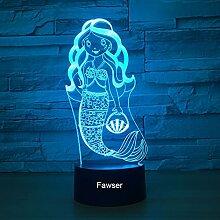 Mermaid 3D Optische Schreibtischlampe, Nachtlicht,