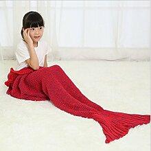 Mermaid Decken Kinder Fischschwanz Strickwaren Decken Klimatisierte Decke Sofadecke Wolldecke,A6