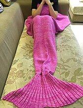 Mermaid Schwanz Decke Häkeln Stricken Weich Schlafsack Wohnzimmer Handgemachte Quilt Alle Jahreszeiten Sofa Snuggle Teppich beste Mode Geburtstag Weihnachten Geschenk für Kinder (Rosa)