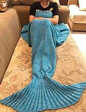 Mermaid Schwanz Decke Häkeln Stricken Weich Schlafsack Wohnzimmer Handgemachte Quilt Alle Jahreszeiten Sofa Snuggle Teppich beste Mode Geburtstag Weihnachten Geschenk für Kinder (Blau)