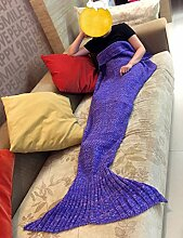 Mermaid Schwanz Decke Häkeln Stricken Weich Schlafsack Wohnzimmer Handgemachte Quilt Alle Jahreszeiten Sofa Snuggle Teppich beste Mode Geburtstag Weihnachten Geschenk für Kinder (lila)