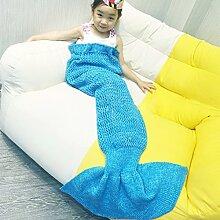 Mermaid Schwanz Decke Häkeln Stricken Weich Schlafsack Wohnzimmer Handgemachte Quilt Alle Jahreszeiten beste Mode Geburtstag Weihnachten Geschenk Sofa Snuggle Teppich für Kinder (See Blau)