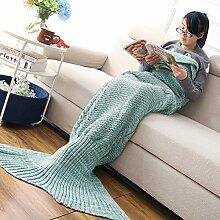 Mermaid Schwanz Decke handgefertigt Weich Schlafsack Häkeln Stricken Wohnzimmer Decke Alle Jahreszeiten Sofa Snuggle Teppich beste Mode Geburtstag Weihnachten Geschenk für Mama und Kinder (Mom Grün)