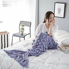 Mermaid Schwanz Decke handgefertigt Weich Schlafsack Häkeln Stricken Wohnzimmer Decke Alle Jahreszeiten beste Mode Geburtstag Weihnachten Geschenk Sofa Snuggle Teppich 190x90cm (Violett)