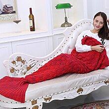 Mermaid Schwanz Decke handgefertigt Weich Schlafsack Häkeln Stricken Wohnzimmer Decke Alle Jahreszeiten Sofa Snuggle Teppich beste Mode Geburtstag Weihnachten Geschenk 190cmx90cm (Rot)