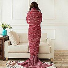 Mermaid Schwanz Decke handgefertigt Weich Schlafsack Häkeln Stricken Wohnzimmer Decke Alle Jahreszeiten Sofa Snuggle Teppich beste Mode Geburtstag Weihnachten Geschenk für Mama und Kinder (Mom Red)