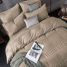 Merryfeel 100% Baumwolle Garn gefärbt Seersucker Bettwäsche-Set - (Superking Set) 260x220+2x50x75cm