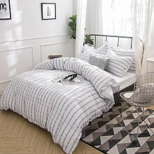 Merryfeel 100% Baumwolle Garn gefärbt Seersucker Bettwäsche-Set - 200x200+2x80x80cm