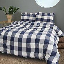 Merryfeel 100% Baumwolle Karo Garn gefärbt Bettwäsche-Set - 155x220+80x80cm