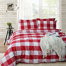 Merryfeel 100% Baumwolle Karo Garn gefärbt Bettwäsche-Set - 200x220+2x80x80cm