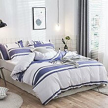 Merryfeel 100% cotton yarn dyed Duvet Cover Set - King Set Blue & White