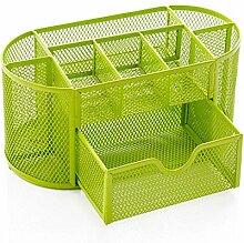 Mesh Schreibtisch Organizer Caddy, Ubabamama Bürobedarf Set mit 9 Platzsparende Schublade für Schule, Studium und Arbeit, Schwarz (Grün)