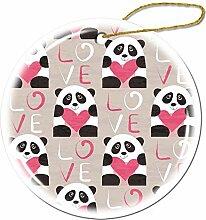 Mesllings I Love Panda Nahtlose Cartoon Ornamente