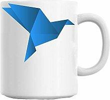 Mesllings Origami-Tasse mit blauem Vogelmotiv