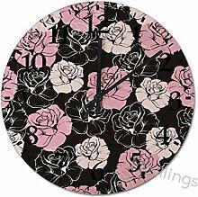 Mesllings Wanduhren abstraktes rosa Rosenmuster