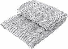 Mesmerized by Wool, Wolldecke aus Merinowolle, Öko-Wolle, stillvolle Kuscheldecke, Tagesdecke, Strickdecke, handgefertigt, Handarbeit, sehr weiche und warm, Farbe Hellgrau, Größe Grösse 110 x 160 cm