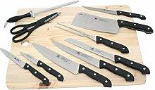 Messer Set 11-tlg. mit Holzbrett Küchenmesser