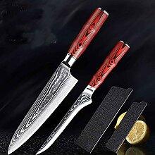 Messer Set Damaskus Kochmesser und Ausbeinmesser