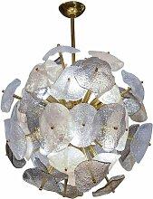 Messing Kronleuchter mit Murano Glas von Glustin