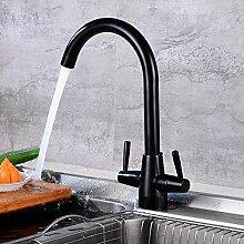 Messing schwarz Küchenarmatur 360 rotierenden