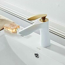 Messing Weiß & Golden Bad Waschbecken Wasserhahn,