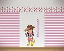 Messlatte Cowgirl Wandtattoo Kinderzimmer Metermaß Maßband