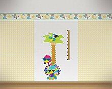 Messlatte Palme mit Vögeln Wandtattoo Kinderzimmer Metermaß Maßband