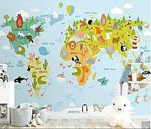 Mestgs 3D-Wandbild-Fototapete Tierweltkarte
