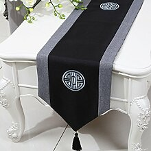 Met Love Balck Blumenmuster Tuch Tischläufer Modern Einfache Mode Upscale Wohnzimmer Küche Restaurant Hotel Heimtextilien (Dieses Produkt verkauft nur Tischläufer) 33 * 230cm