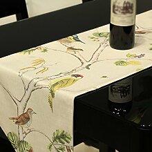 Met Love Beige Blumenmuster Tuch Tischläufer Modern Einfache Mode Upscale Wohnzimmer Küche Restaurant Hotel Heimtextilien (Dieses Produkt verkauft nur Tischläufer) 32 * 240cm