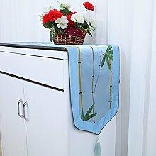 Met Love Blaues Blumenmuster Tuch Tischläufer Modern Einfache Mode Upscale Wohnzimmer Küche Restaurant Hotel Heimtextilien (Dieses Produkt verkauft nur Tischläufer) 33 * 180cm