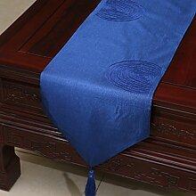 Met Love Blaues Gitter Blumenmuster Tuch Tischläufer Modern Einfache Mode Upscale Wohnzimmer Küche Restaurant Hotel Heimtextilien (Dieses Produkt verkauft nur Tischläufer) 33 * 150cm