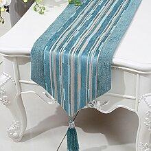 Met Love Blue Stripe Tuch Tischläufer Modern Simple Fashion Upscale Wohnzimmer Küche Restaurant Hotel Heimtextilien (Dieses Produkt verkauft nur Tischläufer) 33 * 280cm