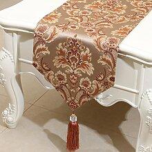 Met Love Braun Rosa Blumenmuster Satin Tischläufer Modern Einfache Mode Upscale Wohnzimmer Küche Restaurant Hotel Heimtextilien (Dieses Produkt verkauft nur Tischläufer) 33 * 200cm