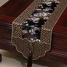 Met Love Braunes Blumenmuster Satin Tischläufer Modern Einfache Mode Upscale Wohnzimmer Küche Restaurant Hotel Heimtextilien (Dieses Produkt verkauft nur Tischläufer) 33 * 200cm