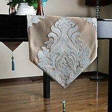 Met Love Brown Blumenmuster Polyester Tischläufer Modern Einfache Mode Upscale Wohnzimmer Küche Restaurant Hotel Heimtextilien (Dieses Produkt verkauft nur Tischläufer) 34 * 180cm