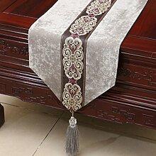 Met Love Grau Blume Muster Tuch Tischläufer Modern Einfache Mode Upscale Wohnzimmer Küche Restaurant Hotel Heimtextilien (Dieses Produkt verkauft nur Tischläufer) 33 * 200cm