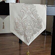 Met Love Grau Blumenmuster Polyester Tischläufer Modern Einfache Mode Upscale Wohnzimmer Küche Restaurant Hotel Heimtextilien (Dieses Produkt verkauft nur Tischläufer) 34 * 260cm