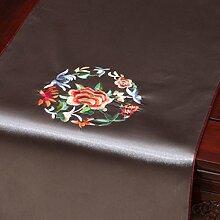 Met Love Graues Blumenmuster Satin Tischläufer Modern Einfache Mode Upscale Wohnzimmer Küche Restaurant Hotel Heimtextilien (Dieses Produkt verkauft nur Tischläufer) 33 * 200cm